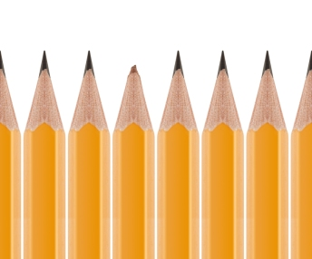 Broken pencil and sharp pencils